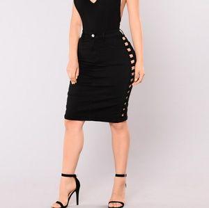 NWT Fashion Nova Hijacked Frayed Skirt Size Medium